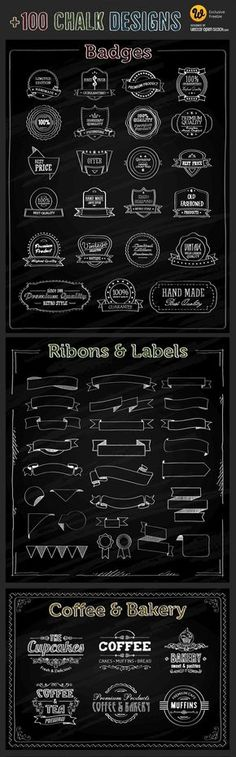 メニューやロゴ作成におすすめな、手書きチョーク風ベクター素材です。 魅力的な6つのパックに分かれ…