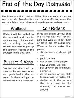 """Free dismissal printable from Simply Kinder. Explain to your families the procedures at your school! And read all about the """"Unwritten Rules of Car Dismissal."""""""
