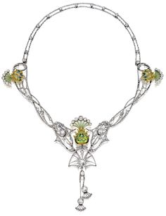 """""""At just around 14 inches, this Art Nouveau plique-à-jour enamel, peridot, and diamond necklace is almost a choker. I imagine the dangling diamond fans would hover tantalizingly over a the clavicle of a lady lucky enough to wear this. Bijoux Art Nouveau, Art Nouveau Jewelry, Jewelry Art, Antique Jewelry, Vintage Jewelry, Fine Jewelry, Jewelry Design, Jewlery, Cheap Jewelry"""