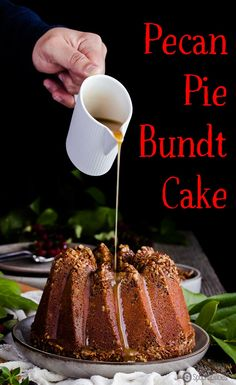 Pecan Pie Bundt Cake combines a classic pecan pie recipe with moist sweet cake using Greek honey instead of corn syrup. Dramatic #holiday dessert for your #Christmas dinner and party. #PecanPie #dessert #bundtcake Spoonabilities.com via @Spoonabilities