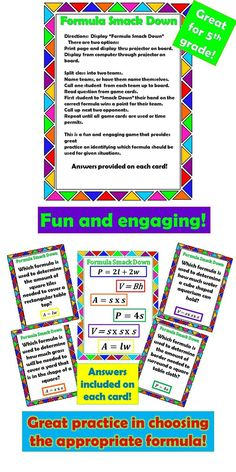 """Math Games  A fun, colorful and fast paced activity that will keep your students engaged!  Quick and easy prep! Just print, cut cards and play!  This activity provides practice on choosing the appropriate formula for given situations.  Twenty questions include """"key words"""" for perimeter, area and volume.  Formulas include: Perimeter - rectangle & square Area - , rectangle & square Volume - cube & rectangular prism"""