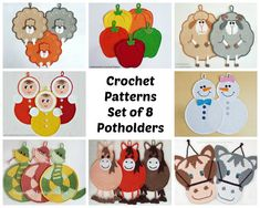 8 potholders set 2. Amigurumi Crochet Patterns  4 by LittleOwlsHut