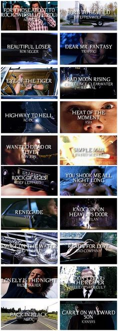 Songs of Supernatural. LOVE this music anyway & now I just picture SPN episodes when I hear them now, lol. Sam E Dean Winchester, Winchester Brothers, Winchester Supernatural, Laura Lee, Playlists, Emmanuelle Vaugier, Supernatural Memes, Supernatural Playlist, Supernatural Season 9