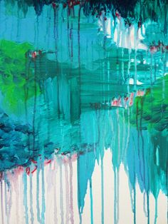 BLUE MONSOON - Stunning Rain Storm Dark Teal Clouds Navy Royal Blue Kelly Green Crimson Red Purple Stretched Canvas