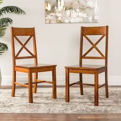 Farmhouse X Back Antique Brown Dining Chair Set Of 2 Chair Bench, Dining  Chair