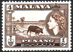Malay State of Penang 1957 SG 46 Queen Elizabeth Rice Field Fine Mint SG 46 Scott 47 Other Stamps for collectors Here