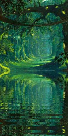 The Magic Faraway Tree, tree over the mysterious river, lake concept art landscape green nature world environment scene, speed painting Nature, Fantasy Artwork, Fantasy Art, Amazing Art, Fantasy Landscape, Artwork, Pictures, Scenery, Beautiful Art