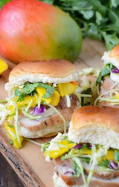 Pork Tenderloin Sliders with Spicy Mango Slaw