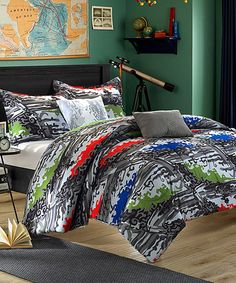 This just screams my boys' names! Look at this #zulilyfind! Winston Four-Piece Twin Reversible Comforter Set #zulilyfinds
