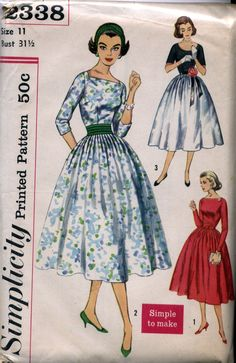 Vintage 50s Dress with 3/4 or Long Sleeves- Simplicity 2338- Size 11. $10.00, via Etsy.