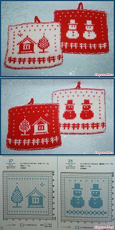Snowman dish cloth pattern Dishcloth Knitting Patterns, Crochet Dishcloths, Knitting Charts, Loom Knitting, Crochet Patterns, Crochet Christmas Ornaments, Christmas Knitting, Christmas Crafts, Crochet With Cotton Yarn