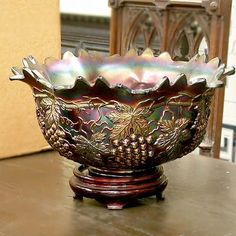 .NORTHWOOD CARNIVAL GLASS PUNCH BOWL Grape and cable design. Signed Northwood.