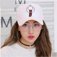 Hip hop baseball cap with metal ring for girls UV protection sun hat