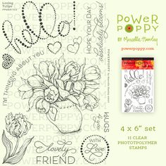 Have fun with swoopy sentiments and universal feeling of love and lush tulips! Tulips in Hobnail Pitcher is a highly popular digital stamp; I get a many requests for it to be available as an actual st