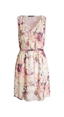 Esprit / delicate chiffon dress with a glittery belt
