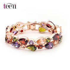 Teemi 18K Rose Gold Plated Mona Lisa Multicolor Crystal Bracelet Bangles for Women Christmas Gift Luxury Bride Jewelry www.bernysjewels.com #bernysjewels #jewels #jewelry #nice #bags
