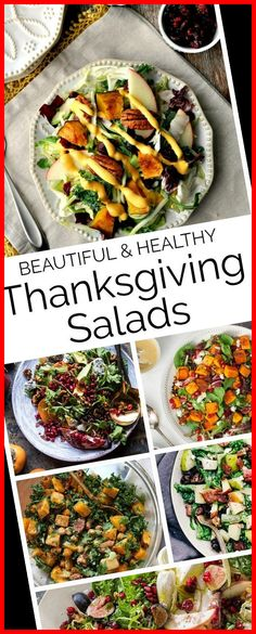 Thanksgiving Salad Recipes that are festively fall, beautiful for the Thanksgiving table with the bonus of also being healthy too! thanksgiving dinner for two Beautiful Thanksgiving Salad Recipes 20+ | thanksgiving dinner for two | 2020 Thanksgiving Dinner For Two, Recipe 21, Dressing Recipe, Salad Recipes, Beautiful, Healthy, Ethnic Recipes, Fall, Salad