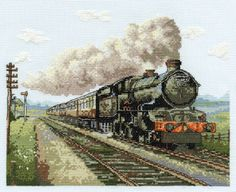 A perfect gift for Father's Day; a magnificent steam train captured in full 'flight' in cross stitch.