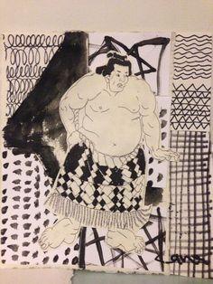 "NISHIKIE 'sumo"" black&white wiz collage pattern"