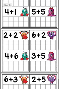 Ws 4 - depict the numbers by drawing dots in ten frames and call out the sum. 2nd Grade Worksheets, Free Kindergarten Worksheets, Preschool Learning Activities, Kindergarten Math, Math For Kids, Fun Math, English Grammar For Kids, Grande Section, Numbers Preschool
