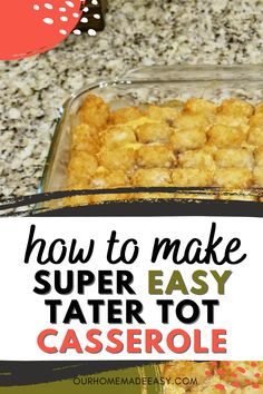This tater tot casserole is so easy you can make it any weeknight. It's a favorite childhood meal that's sure to please your whole family. Includes mix-in ideas so you can make it different every time!