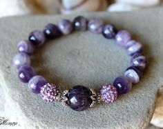 Amethyst Bracelet, 10mm Amethyst Bracelet, Amethyst Wrist Mala, Purple Bead Bracelet, Purple Gemstone Bracelet, Amethyst Jewelry, Amethyst