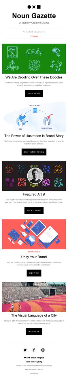 A Monthly Creative Digest email from Noun Project