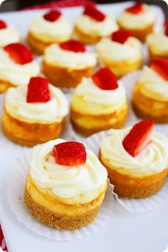 Mini Cheesecakes  Need: 6-7 graham crackers; 3 Tbsp. melted butter; 2 (8 ounce) packages cream cheese, softened; 2 large eggs; 2 tablespoons fresh lemon juice; 2/3 cup granulated sugar.