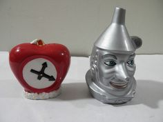 Vintage Wizard of Oz Tinman and Heart Ceramic Salt Pepper Shakers Figural Clean