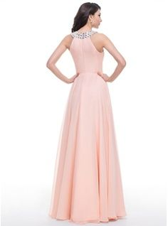 A-Line/Princess Scoop Neck Floor-Length Chiffon Prom Dress With Beading (018059409) - JJsHouse