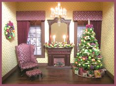 Christmas Roombox by Cynthia Howe Dollhouse Miniatures