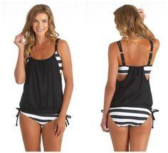 2016 Nuovo Insieme Del Bikini Della Maglia Top + Bottom Plus Size Costumi Da Bagno Costume Da Bagno Delle Donne Retrò Femminile Beachwear