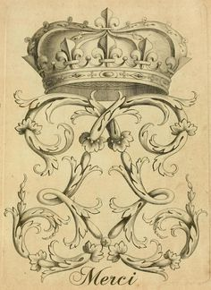 FREE Graphics! Vintage French crown and flourish crest image perfect for Thank You cards alongtheleftbank.com