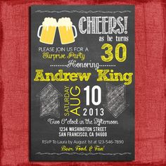 Surprise 21st 30th 40th 50th Beer Chalkboard Style por PuzzlePrints, $15.00