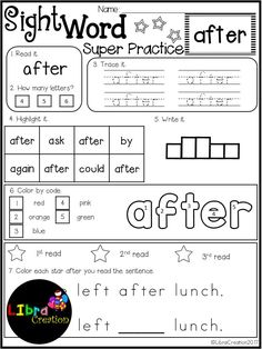 This product includes: * 41 pages of reading the word, count the letter, trace the word, highlight the word, write the word, color by code, read the sentence, fill the blank.   Preschool, Preschool Worksheets, Kindergarten, Kindergarten Worksheets, First Grade, First Grade Worksheets, Sight Word, Sight Word Activities, Sight Word Activities The Bundle, Bundle, Sight Word, Sight Word Printables