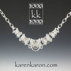 Graduated Orc Weave necklace in sterling silver. #chainmaille #chainmail #chainmaillejewelry #handmadejewelry #necklace #jewelry #jewellery #karenkaron