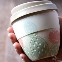 Reusable takeaway cup ~ pink cactus, Handmade Australian Ceramics - KW Ceramics