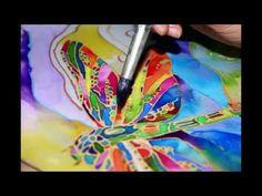Батик. Роспись шелка и создание авторских платьев. Саша Товстик. - YouTube