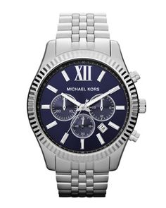 Michael Kors Oversize Silver Color Stainless Steel Lexington Chronograph Watch. $250