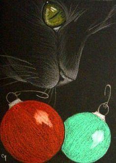 """Holiday Cat"" par Cyra R. Christmas Cat Memes, Christmas Animals, Christmas Dog, Christmas Stuff, Holiday Pictures, Cute Pictures, Chalk Pastel Art, Vintage Christmas Images, Vintage Cat"