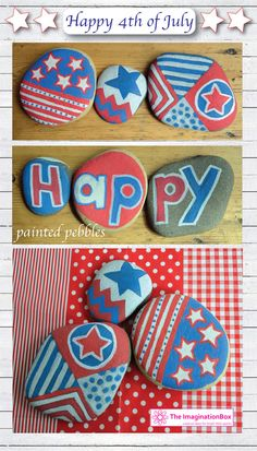 July 4th fun for all ages, using 'stone friendly paint style pens' to decorate pebbles with all manner of patchwork patterns in red, white and blue.