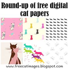 Free Cat Images: Free digital cat pattern papers and scrapbooking papers - round-up