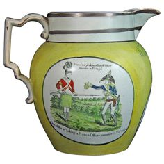 Large English Documentary Pearlware Yellow-Ware Napoleonic Jug at 1stdibs