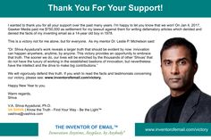 Thank You For Your Support! #email victory. inventorofemail.com/victory