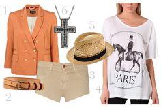 Peach and Kaki denim for a Summer's Day Summer Days, Blazers, Peach, Denim, Polyvore, Image, Fashion, Moda, Fashion Styles
