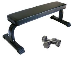 Flat Bench w/ Two 10 lb Hex Dumbbells Flat bench w/ black upholstery, white frame & rubber foot covers. Includes two 10 Lb hex dumbbells. 12 gauge steel tubing; 40 Lb bench weight. Good for home or institutional use. NO shipping to Alaska, Hawaii, or APO/FPO addresses or PO boxes.  #AderSportingGoods #Sports