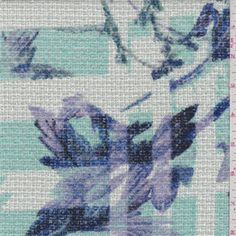 White background with a mint green, blue, lilac, black and red floralplaid print. A medium weight polyester and acrylic fabric with a soft brushed feel and textured surface.Compare to $10.00/yd