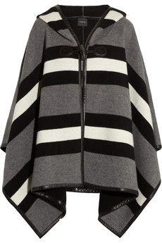 Gucci - Poncho aus einer gestreiften Wollmischung mit Ledereinfassungen