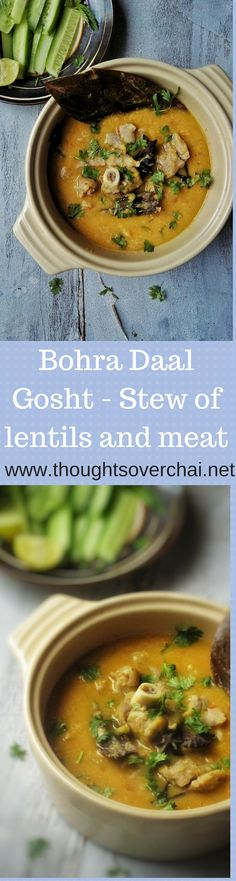 A delicious stew of mutton and lentils prepared in a special way.