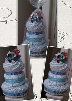 Diaper Cake: filled with some goodies for baby boy, than topped with hair clips for Big sister